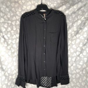 Free people witchy lace open lace back blouse